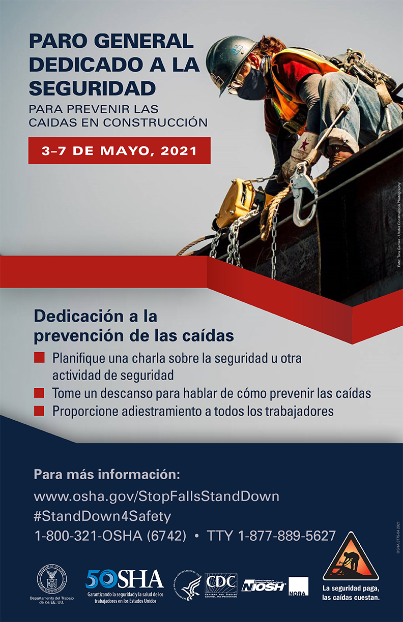 Stop Falls Stand-Down 2021 Spanish language poster