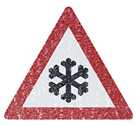 snowflake caution sign