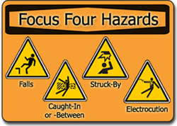 Focus Four Hazards: Falls, Caught-In or -Between, Struck-By, and Electrocution