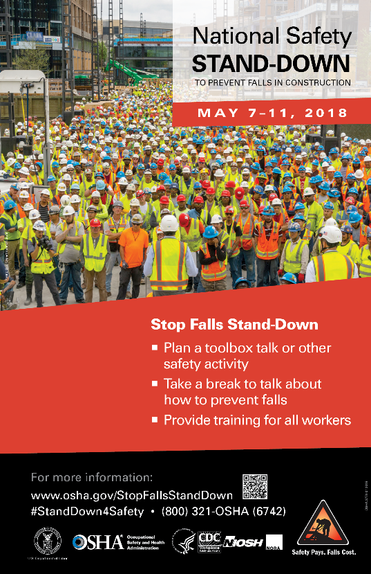 National Safety Stand-Down to Prevent Falls in Construction poster - May 7-11, 2018