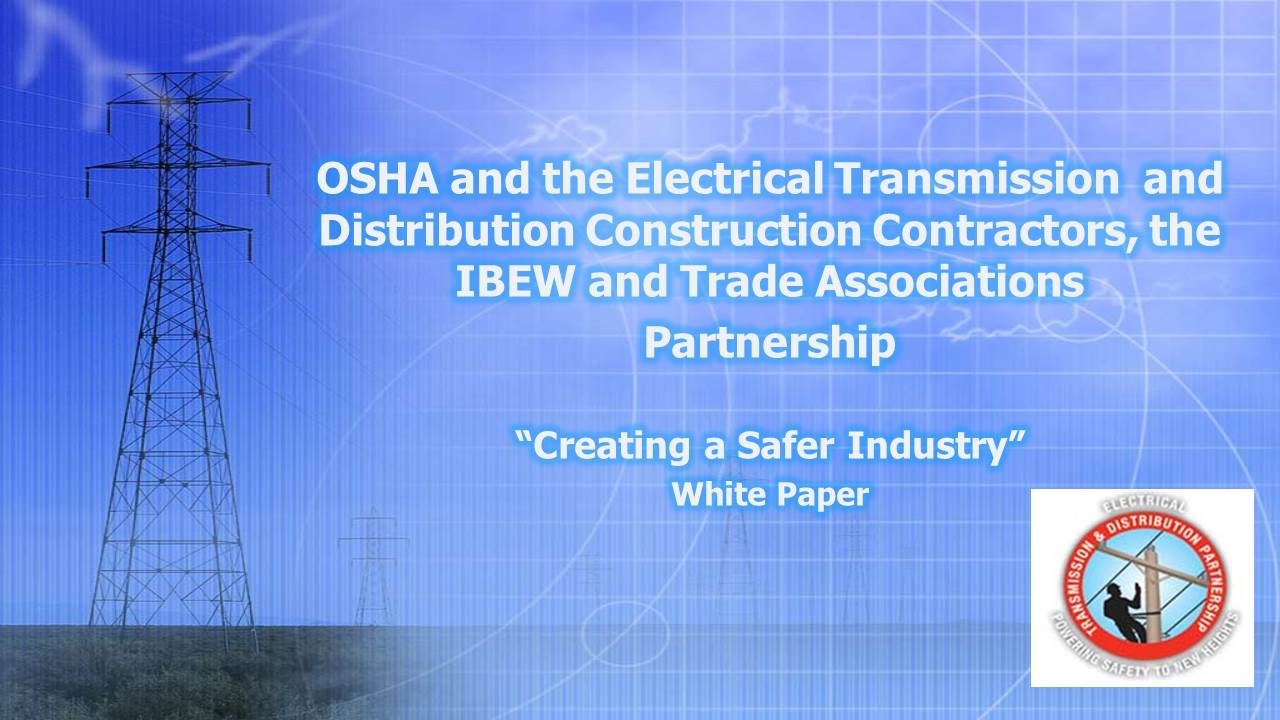 "OSHA and the Electrical Transmission and Distribution Construction Contractors, the IBEW and Trade Associations Partnership - ""Electric Power Industry: Lighting the Way for Safety and Health Programs"" A Case Study"