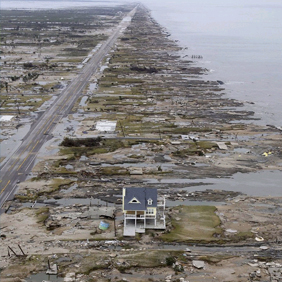 Photo shows ruins after a hurricane