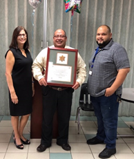From left to right: Hilda Soto (Simmons Caribbean Bedding, Inc. Controller), Víctor Seda (PR OSHA On-Site Consultation Services consultant in charge of SHARP sites), and Angel Marcelo (Simmons Caribbean Bedding, Inc. Production Supervisor) receiving SHARP designation