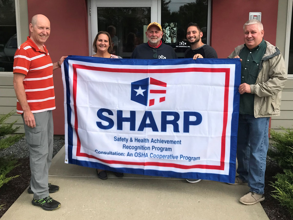 Left to Right: Edward Kort, President and Owner; Kristina Boice, Office Manager, Safety Officer; George Berryann, Warehouse and Production Manager; Nick Kort, Vice President of Operations; Geoffrey Holodook, NYS DOSH Supervising Safety and Health Inspector and SHARP Program Coordinator.
