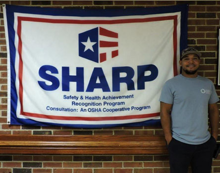 SHARP flag on display in the Trinity Community hallway of the long-term care facility (Tony Vaughan pictured).