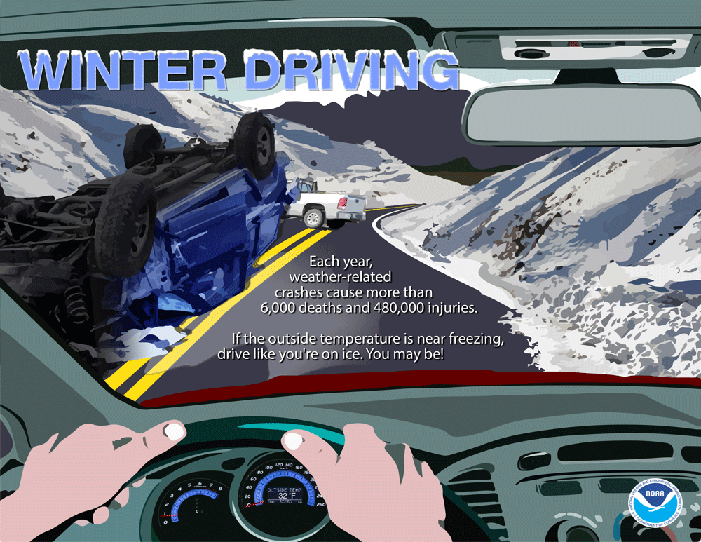 Winter Driving - Each year, weather-related crashes cause more than 6,000 deathers and 480,000 injuries. If the outside temperature is near freezing, drive like you're on ics. You may be!