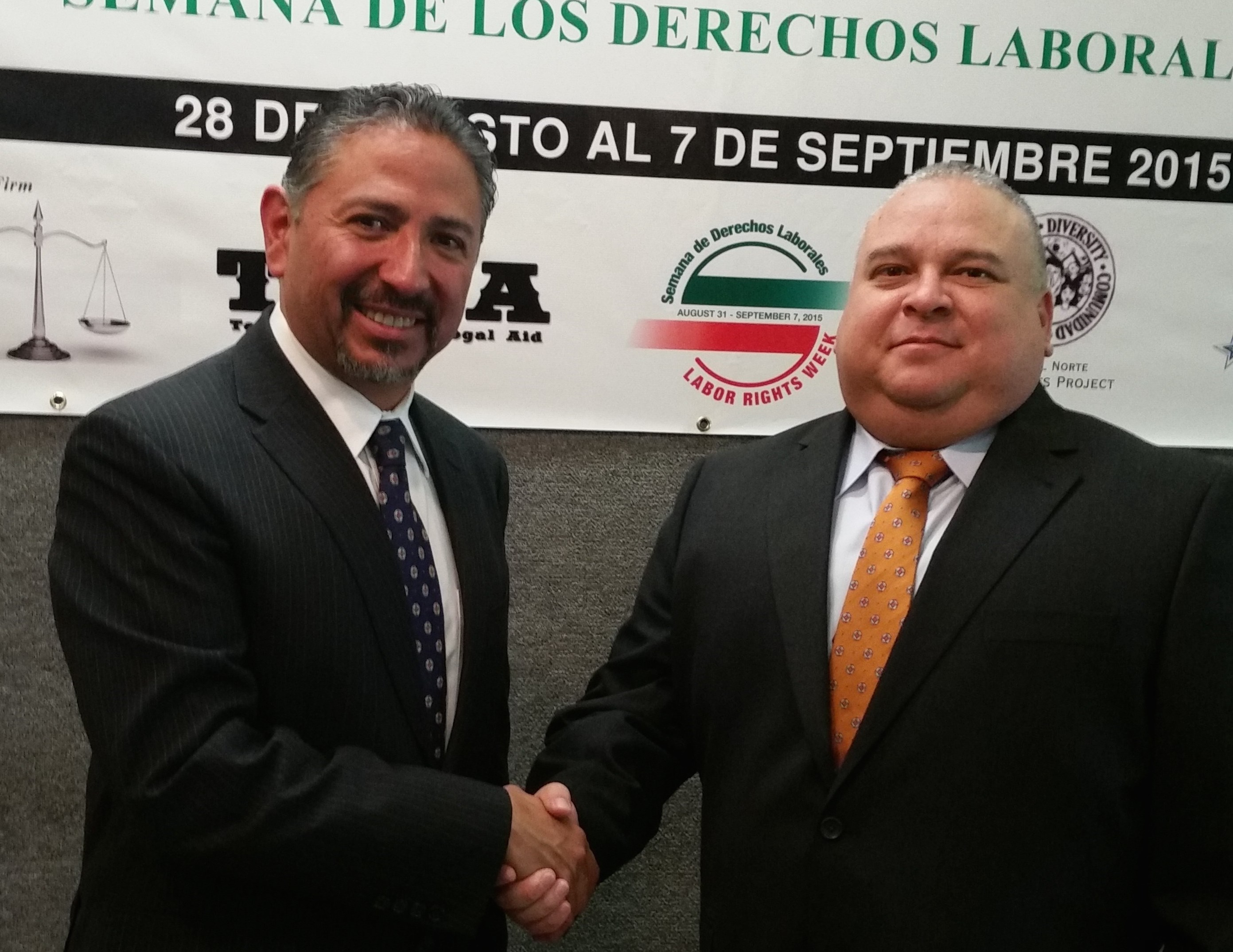 Jacob Prado Gonzalez (left) consul general for the Mexican Consulate in El Paso, Texas, signs alliance renewal with Diego Alvarado Jr. (right) area director in El Paso for the U.S. Department of Labor's Occupational Safety and Health Administration.