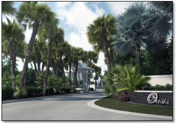 An artist's rendering of Oasis Park Square at completion.