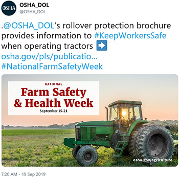 .@OSHA_DOL's rollover protection brochure provides information to #KeepWorkersSafe when operating tractors.