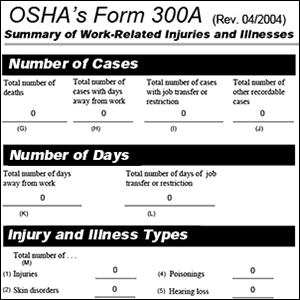 Screenshot of OSHA Form 300A