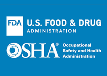 Logos of the FDA - U.S. Food and Drug Administration, and OSHA - Occupational Safety and Health Administration