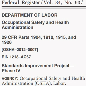 Screenshot of Federal Register