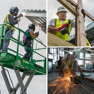Photos of construction workers