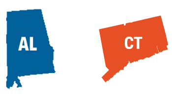 Alabama and Connecticut state icons