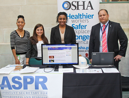 From right: Sid Holcomb, of OSHA's Office of Emergency Management and Preparedness, at the America's PrepareAthon! event with representatives from the Department of Health and Human Services.