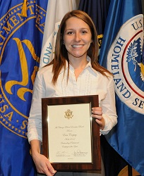 Erin Cropsey receives her award at a June 20 ceremony in Chicago.