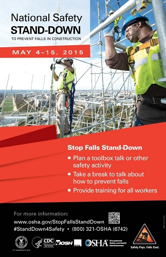 National Safety Stand-Down to Prevent Falls in Construction stop falls standdown plan a toolbox talk or other safety activity take a break to talk about how to prevent falls provide training for all workers