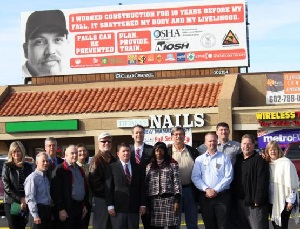 OSHA Phoenix Area Office and local stakeholders unveil billboard highlighting OSHA's Campaign to Prevent Fatal Falls in Construction