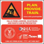 Falls from ladders, scaffolds and roofs can be prevented - poster