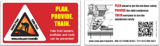 OSHA's Fall Prevention Campaign Wallet Cards: