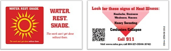 OSHA's Heat Illness Prevention Campaign Wallet Cards: