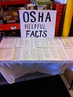OSHA distributes safety information at locations where workers typically gather to prepare recovery efforts, such as this big-box retail store