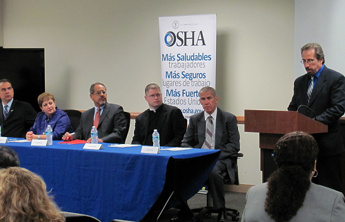OSHA Regional Administrator Robert Kulick delivers remarks at a Region II Labor Rights Week event.