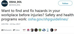 shp tweet @OSHA_DOL Want to find and fix hazards in your workplace before injuries? Safety and health programs work: https://www.osha.gov/shpgui