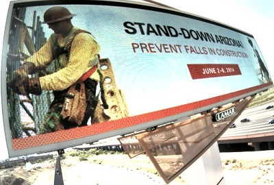 Safety Stand-Down for Fall prevention billboard