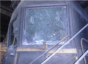 Control room windows damaged by steel furnace explosion.