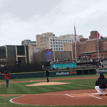 "Thirteen-year-old Gerardo ""Junior"" Juarez – whose father, Jerry, was fatally injured at work – threw out the first pitch at the Cleveland Indians game held on Workers Memorial Day"