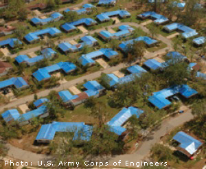 Photo of blue roof tarps | U.S. Army Corps of Engineers