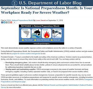 September Is National Preparedness Month: Is Your Workplace Ready For Severe Weather?