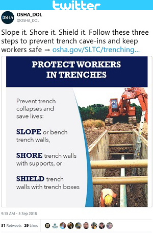 Slope it. Shore it. Shield it. Follow these three steps to prevent trench cave-ins and keep workers safe → https://www.osha.gov/SLTC/trenchingexcavation/