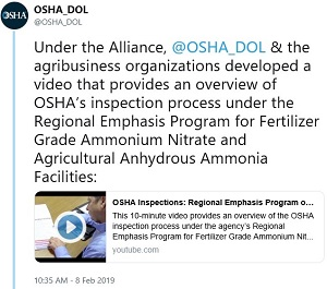Under the Alliance, @OSHA_DOL & the agribusiness organizations developed a video that provides an overview of OSHA's inspection process under the Regional Emphasis Program for Fertilizer Grade Ammonium Nitrate and Agricultural Anhydrous Ammonia Facilities: