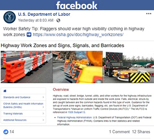 U.S. DOL Facebook post
