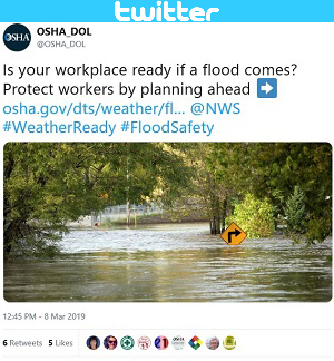 Screenshot of OSHA_DOL Tweet: Is your workplace ready if a flood comes? Protect workers by planning ahead.