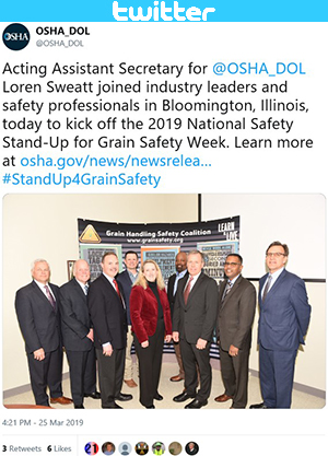 Twitter post - Acting Assistant Secretary for @OSHA_DOL Loren Sweatt joined industry leaders and safety professionals in Bloomington, Illinois, today to kick off the 2019 National Safety Stand-Up for Grain Safety Week.