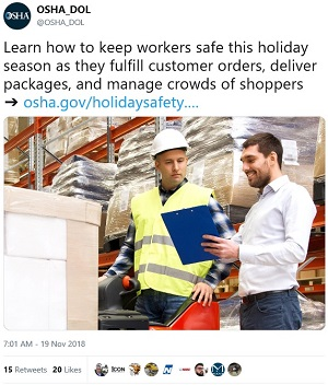 Learn how to keep workers safe this holiday season as they fulfill customer orders, deliver packages, and manage crowds of shoppers.