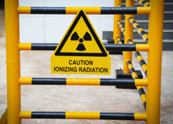 Picture of sign with text - Caution Ionizing Radiation