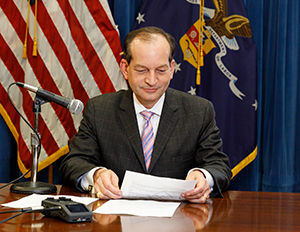 Labor Secretary Alexander Acosta recording public service announcements on storm recovery safety.