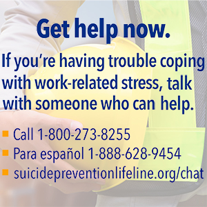 Get help now. If you're having trouble coping with work-related stress, talk with s omeone who can help. Call 1-800-273-8255. Para espanol 1-888-628-9454. suicidepreventionlifeline.org/chat