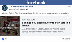 Facebook post - Worker Safety Tip: Use cave-in protection to keep workers safe in trenches.
