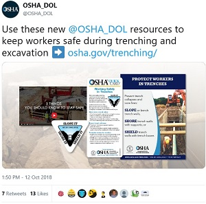 OSHA Tweet: Use these new @OSHA_DOL resources to keep workers safe during trenching and excavation: osha.gov/trenching