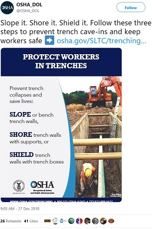 Slope it. Shore it. Shield it. Follow these three steps to prevent trench cave-ins and keep workers safe.