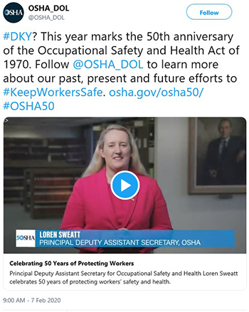 #DKY? This year marks the 50th anniversary of the Occupational Safety and Health Act of 1970. Follow @OSHA_DOL to learn more about our past, present and future efforts to #KeepWorkersSafe. osha.gov/osha50/ #OSHA50