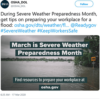 During Severe Weather Preparedness Month, get tips on preparing your workplace for a flood.