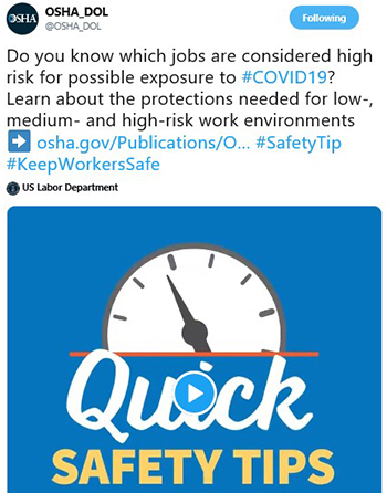 Do you know which jobs are considered high risk for possible exposure to #COVID19? Learn about the protections needed for low-, medium- and high-risk work environments.