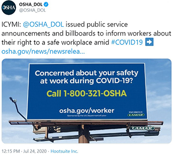ICYMI:  @OSHA_DOL issued public service announcements and billboards to inform workers about their right to a safe workplace amid #COVID19