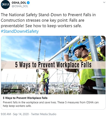 The National Safety Stand-Down to Prevent Falls in Construction stresses one key point: Falls are preventable! See how to keep workers safe. #StandDown4Safety